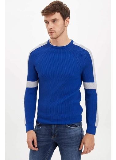 DeFacto Slim Fit Renk Bloklu Kazak Mavi